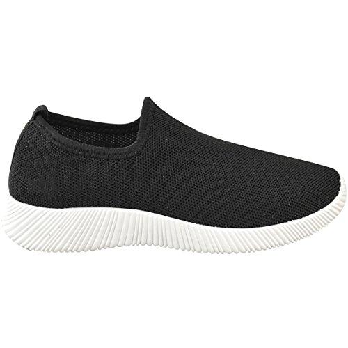 Mode Törstig Kvinna Stretch-komfort Gym Sport Sneakers Halka På Sticka Storlek Svart Stickad