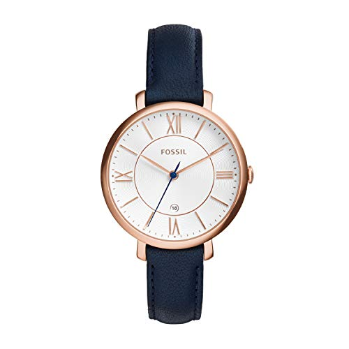 Fossil Women's Jacqueline Quartz Stainless Steel and Leather Casual Watch, Color: Rose Gold-Tone, Blue (Model: ES3843)