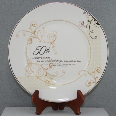 50th-Wedding-Anniversary-Love-Sees-with-the-Heart-Porcelain-Plate-with-Stand-by-Roman