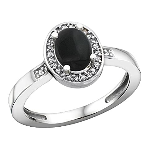 Sterling Silver Diamond Natural Black Onyx Ring Oval 7x5mm, 1/2 inch wide, size 10 (Oval Cut Black Onyx Ring)