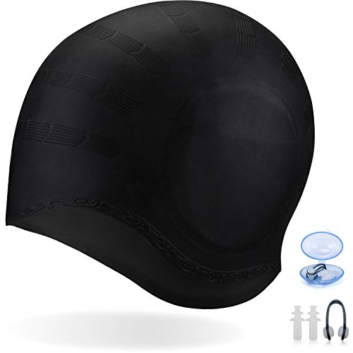 Long Hair Swim Cap,Waterproof Silicone Swimming Cap for Adult Woman and Men,Keeps...