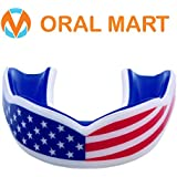 Oral Mart Sports Youth Mouth Guard for Kids (2 Holiday Deals, 9 Best Colors & USA Flag) - Youth Mouthguard (BPA Free) Karate, Flag Football, Martial Arts, Rugby, Boxing, MMA, Hockey (/w Vented Case)