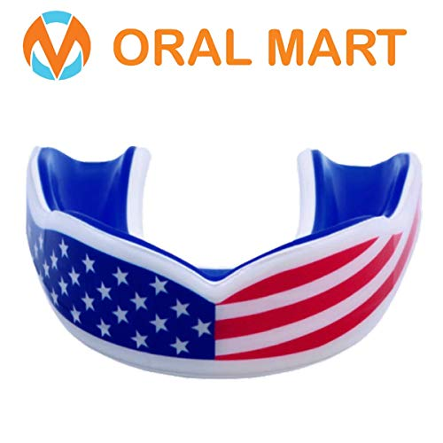 (Oral Mart USA Flag Mouth Guard for Kids - Cushion Youth American Flag Sports Mouthpiece for Flag Football, Karate, Boxing, Sparring, Lacrosse, Basketball, Rugby, Martial Arts,Taekwondo)