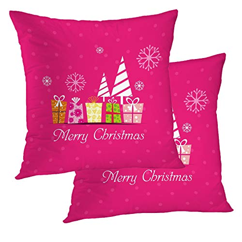 BaoNews Christmas Pillow Covers, Red Green Christmas Modern Seasonal DecorThrow Pillow Cover 18X18 Inch Cotton Square Cushion Decorative Pillow Case for Sofa Bed