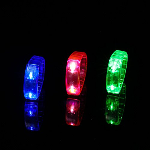 Ezerbery 6 pcs Multicolor LED Light Up Flashing Wristbands LED Light Bracelet For Parties Birthdays Events by Ezerbery (Image #3)