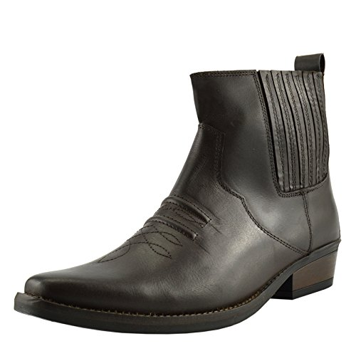 Kick Footwear Caviglia Tacco Tirare Boots Cubano Smart Occidentale EU40 47 Mens Cowboy Marrone UAwnfgdxqA