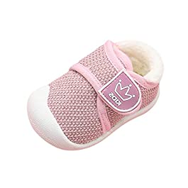 Toddler Boys Girls Little Kid Soft Crib Shoes Warm Velveted Flat Cute Kid Non-Slip Outdoor Walking Shoes from 3-6 Months to 3.5-4 Years Old Pink