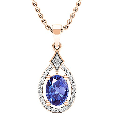 Dazzlingrock Collection 14K 8X6 MM Oval Tanzanite & Round Diamond Ladies Pendant (Gold Chain Included), Rose Gold