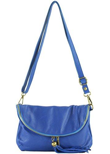 histoireDaccessoires - Bolso con Bandolera de Cuero de Mujer - SA148333GU-Lino Azul