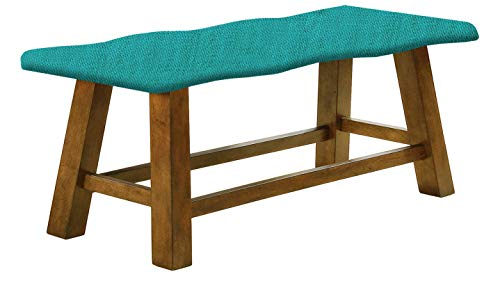 Counter Height Wavy Bench Featuring Your Choice of a Colored Burlap Covered Padded Seat Cushion (Turquoise) ()