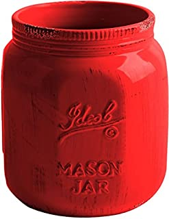 TableTop by HE Vintage Ceramic Utensil Crock in Aqua-or Red-- Mason Jar Container (Red) (B01FICKZWW) | Amazon price tracker / tracking, Amazon price history charts, Amazon price watches, Amazon price drop alerts