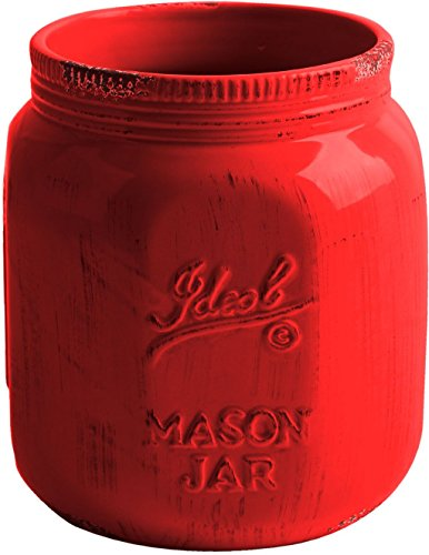 Country Utensil Holder - TableTop by HE Vintage Ceramic Utensil Crock in Aqua-or Red-- Mason Jar Container (Red)