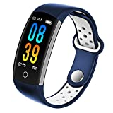 Fitness Tracker, Dosmix Activity Watch with Heart Rate, Blood Pressure and Respiratory Frequency Monitor, IP 68 Water-Resistant with Calorie Steps Sleeps Monitor for Women Kids Men/Android iOS(Blue)