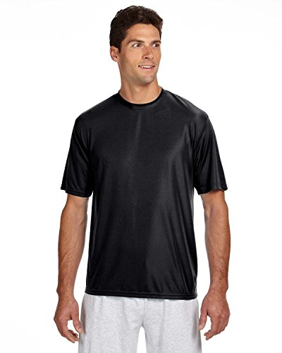 A4 Men's Cooling Performance Crewneck Top, Dark Black, Small by A4 (Image #1)