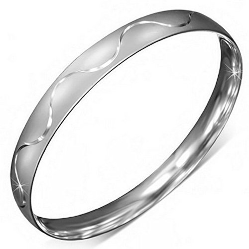 - My Daily Styles Stainless Steel Silver-Tone Classic Matte Round Womens Bangle Bracelet