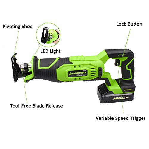 HAWKFORCE Reciprocating Saw, 20V Li-ion Power Reciprocating Saw - Variable Speed, LED Light - Cordless Garden Saw with Carrying Bag and 6 PCS Quick Change Blades for Wood and Metal Cutting