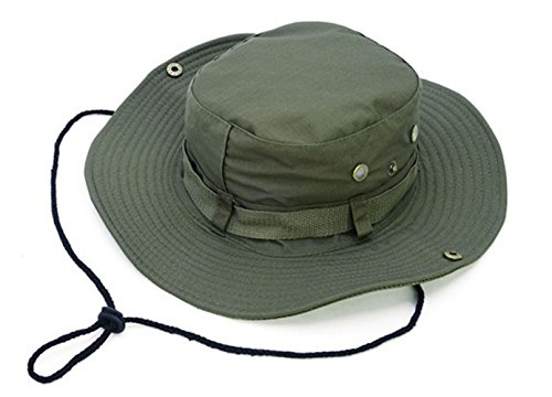 (Keross Wide Brim Sun Boonie Hat Summer Bucket Caps Perfect for Camping Fishing Safari Hiking Outdoor Activity UV Protection(Army Green))