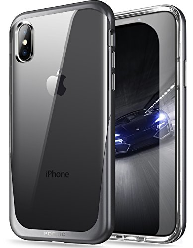 iPhone Xs Clear Case, iPhone X Clear Case, Poetic Lucent [Metallic Coating] [Scratch Resistant Back] Clear Hybrid Bumper Slim Case for Apple iPhone X (2017) / iPhone Xs (2018) 5.8inch - Black
