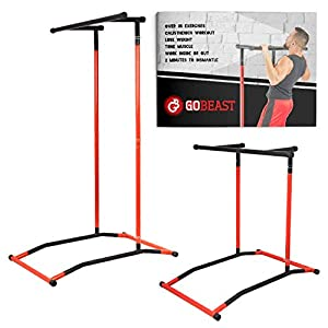 GoBeast Pull Up Bar Free Standing Dip Station, Portable Power Tower Home Gym Equipment with Storage Bag and Downloadable Exercise Manual, Red Black