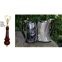 VIKING DRINKING HORN MUG (set of two) -30Oz Handcrafted Ox Cup Goblet - Drink Mead & Beer Like Game of Thrones Heroes With This Large Ale Stein - Great Craftsmanship A Perfect Present For Real Men
