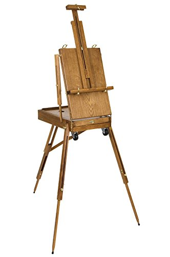 Creative Mark Monet Traveling French Style Wooden Art Easel & Sketchbox, Wood Artist Palette, Telescope Handle, Rolling - Palette Easel