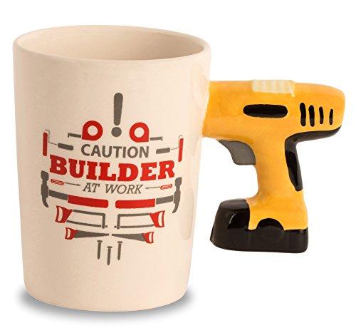 "Ceramic Handyman Tool Mug - ""Caution Builder At Work""- Power"