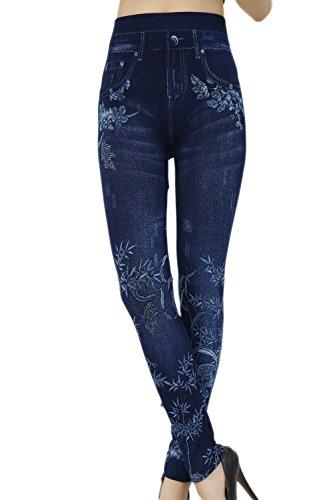 Les Jeans Taille Haute Occasionnels Pleine Longueur Des Motifs Floraux Crayon Pantalon Legging Pantalon Skinny Blue9