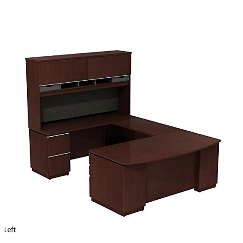 Bush Large U Shaped Desk W/Hutch 72''W X 102''D X 73''H 2 Box Drawers For Supplies & 3 File Drawers To Hold Letter, Legal/A-4 Size Files - Harvest Cherry - Bridge on Left (Shown Right) by Bush