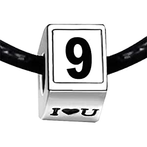 Chicforest Silver Plated Black Number 9 Photo I Love You Charm Beads Fit Pandora Bracelet