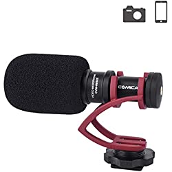 Comica CVM-VM10II Camera Microphone Directional Condenser Shotgun Video Microphone for Canon, Nikon, Fuji, Sony, Panasonic, Olympus DSLR Cameras, Smartphones etc.(with Wind Muff)