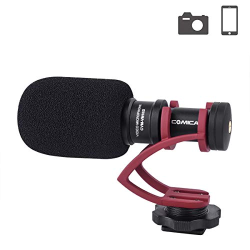 Comica CVM-VM10II Camera Microphone Directional Condenser Shotgun Video Microphone for Canon, Nikon, Fuji, Sony, Panasonic, Olympus DSLR Cameras, Smartphones etc.(with Wind ()