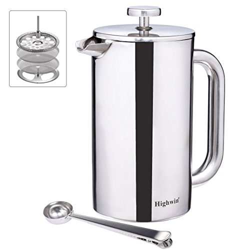 Highwin 8-Cup/34-Ounce Facsimile Wall Insulated Stainless Steel French Coffee Press, Durable Coffee Tea Maker with Stainless Steel Plunger (Silver -NEW)