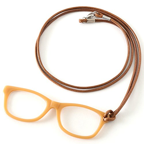 MIDI Caramel (pg001c4) Fine Acetate Lorgnette Loupe with Cord for Women – Magnifying and Reading Glasses [All in one]