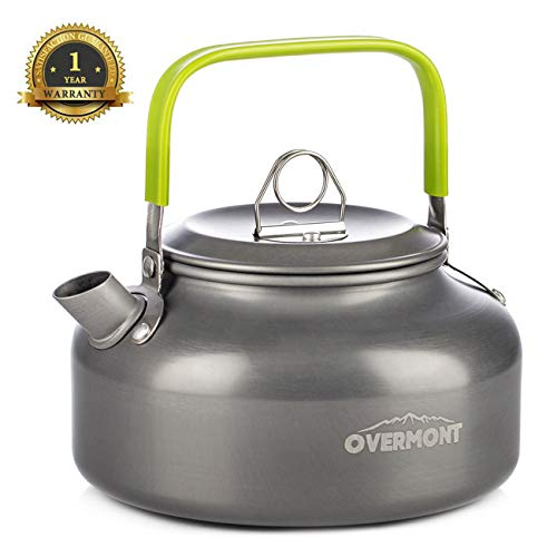 Overmont Camping Kettle Camp Tea Kettle Camping Coffee Pot Aluminum Outdoor Hiking Kettle Pass FDA Test Camping Gear Portable Teapot Compact and Lightweight