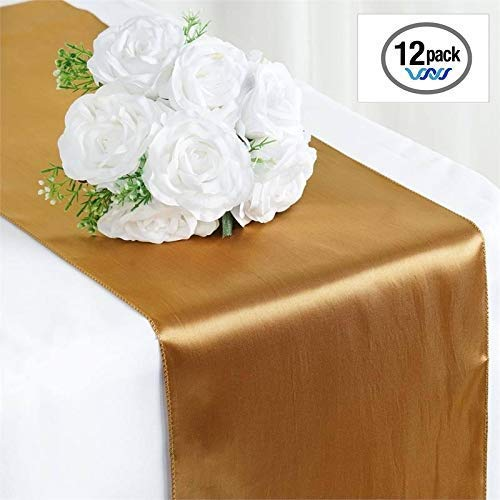 Wavewater Gold Satin Table Runners 12-Pack (12 x 108 inch) Long, Elegant, Decorative Party Decor | Wedding, Banquet, Graduation, Business Events | Fits Rectangular & Round Surfaces -