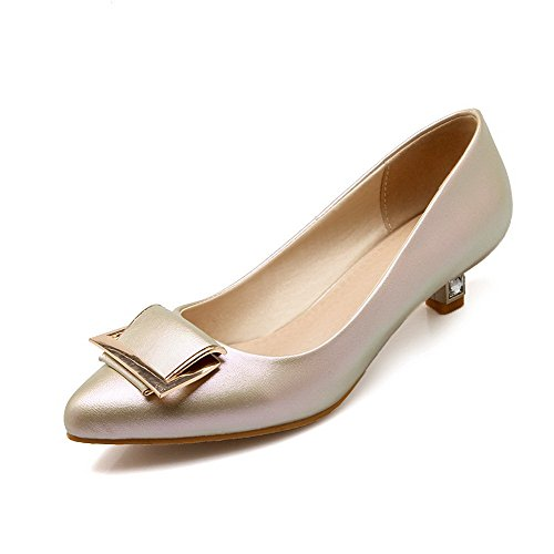 VogueZone009 Women's Pointed Closed Toe No-Heel Blend Materials Solid Pull-On Flats Shoes Gold
