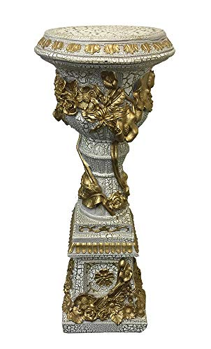 GIFTS PLAZA (D) White Column, Pedestal Pillar Antique Gilded Sculpture, Stand for Flowers