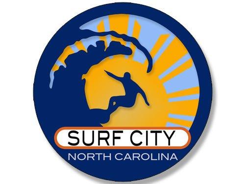 American Vinyl Round Surfer On Wave SURF City North Carolina Sticker (Surfing surf Retro Beach)