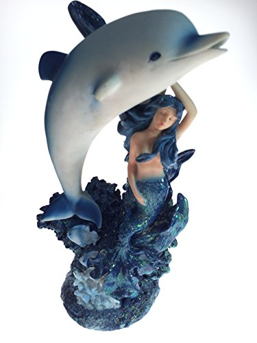 (Mermaid with Dolphin Figurine Decoration Statue)