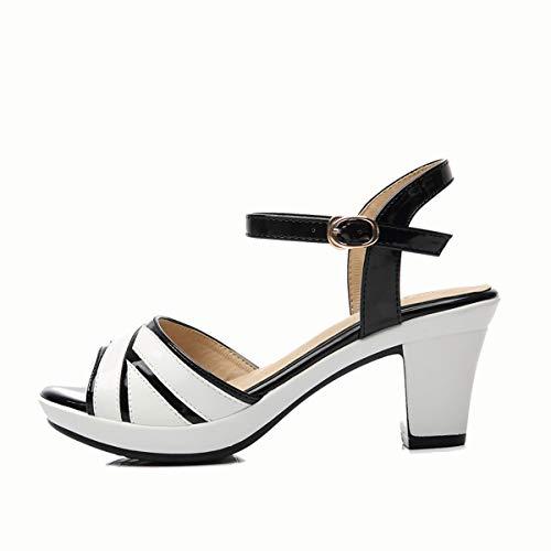 tacco il selvatico white cm medio KOKQSX pelle di da donna basso spessa trentaquattro pesce scarpe 5 duro 5BxHdPHwq