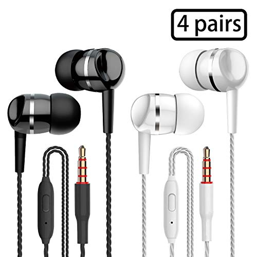 4 Pairs Earbud Headphones with Remote & Microphone in Ear Earphone Stereo Sound Noise Isolating Tangle Free for iOS and Android Smartphones,Fits All 3.5mm Interface Device (Black2+Whtie2)
