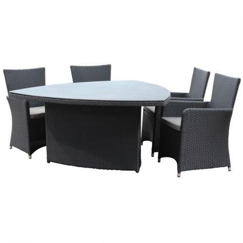 geflechttisch in schwarz dreieckig ca 160x160 cm gartentisch esstisch gartenm bel. Black Bedroom Furniture Sets. Home Design Ideas