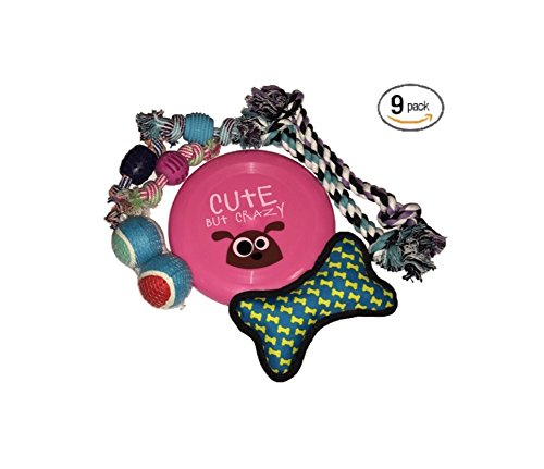 9-pack-variety-dog-rope-toys-pink-frisbee-by-plush-pets-for-small-and-medium-dogs-includes-bonus-dog