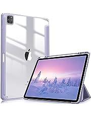 Fintie Hoes voor iPad Pro 12.9 2021 (5e Generatie)/ iPad Pro 12.9 2020/2018 - [Ingebouwde Penhouder] Schokbestendige Cover met Transparant Harde Schaal Terug Beschermhoes, (Pastel Paars)