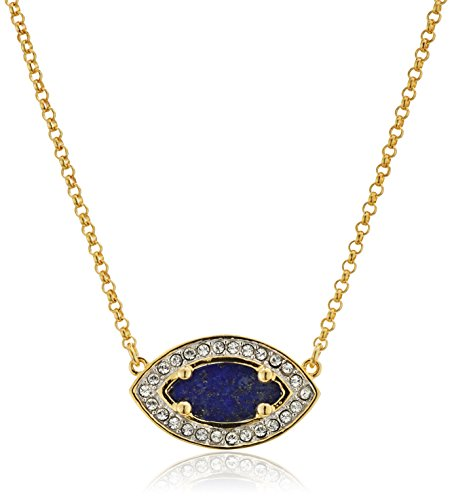 18k Yellow Gold Lapis Ring (18k Gold Plated Sterling Silver Genuine Lapis Lazuli Marquis Slice with White Swarovski Crystal Halo Necklace, 18