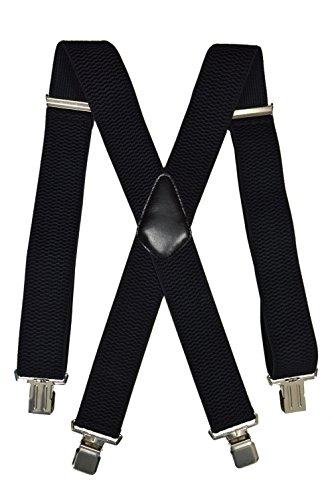 Extra Lange, Extra Breite XXL Hosenträger X-Form mit 4 Starken Clips, Stark Stoff - 5cm. Schwarz