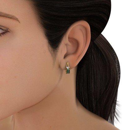 14K Or jaune 0.11CT TW White-diamond (IJ   SI) et émeraude Boucles d'oreilles créoles