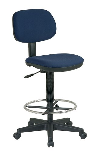 Office Star Work Smart DC517 Blue Fabric Bar Counter Drafting Stools With  Adjustable Height Footring By