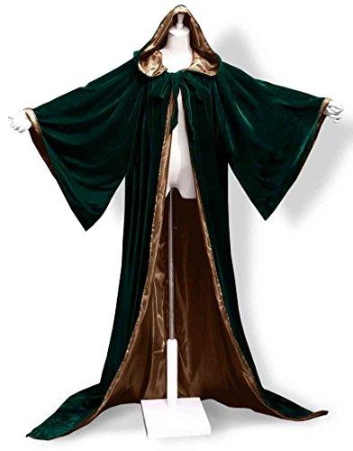 ANGELWARDROBE Halloween Robe Wizard Cloak Wicca LARP LOTR D-Green-Brown (Fancy Dress Costumes Starting With D)