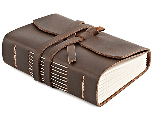 Leather Journal Travel Notebook, Handmade Vintage Leather Bound Writing Notebook for Men & Women, Unlined Travel Journal to Write in, 320 Pages 5.2